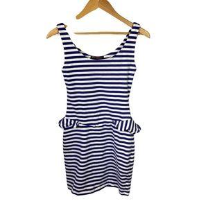 Betsey Johnson Blue White Stripe Peplum Dress 2